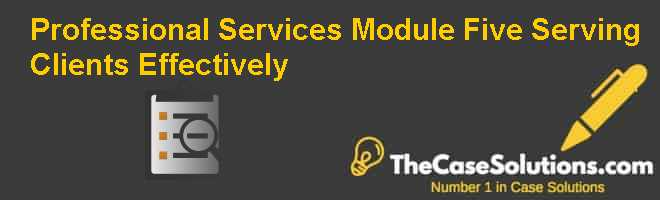 Professional Services Module Five: Serving Clients Effectively Case Solution